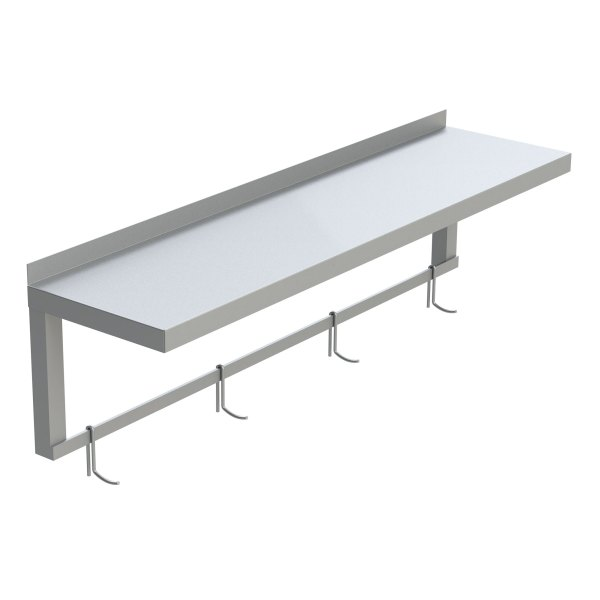Solid Top Aluminum Shelf with Pot Hooks