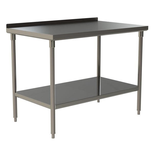 "Standard Duty Work Table with 1.5"" Backsplash and Stainless Steel Under Shelf"