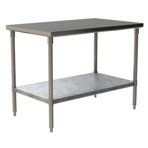 Heavy Duty Work Table with Flat Top and Galvanized Under Shelf
