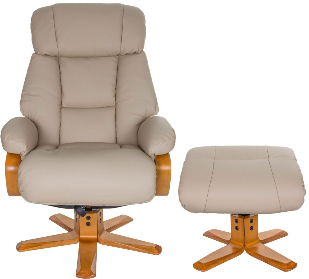 Swivel Recliner Chairs Gfa Nice Swivel Recliner Chair With Footstool Ivory Leather Match