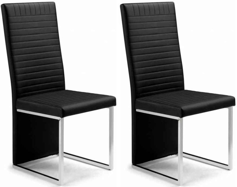 Black Leather Dining Chairs Julian Bowen Tempo Dining Chair Pair Black Faux Leather