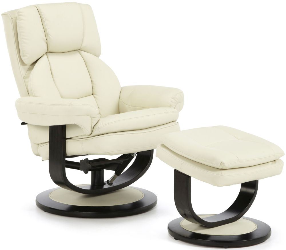 Leather Reclining Chairs Serene Vardo Cream Bonded Leather Recliner Chair