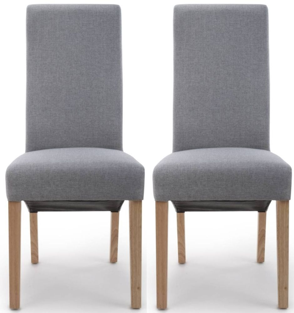 Silver Dining Chairs Shankar Baxter Silver Grey Linen Effect Fabric Accent Dining Chair Pair