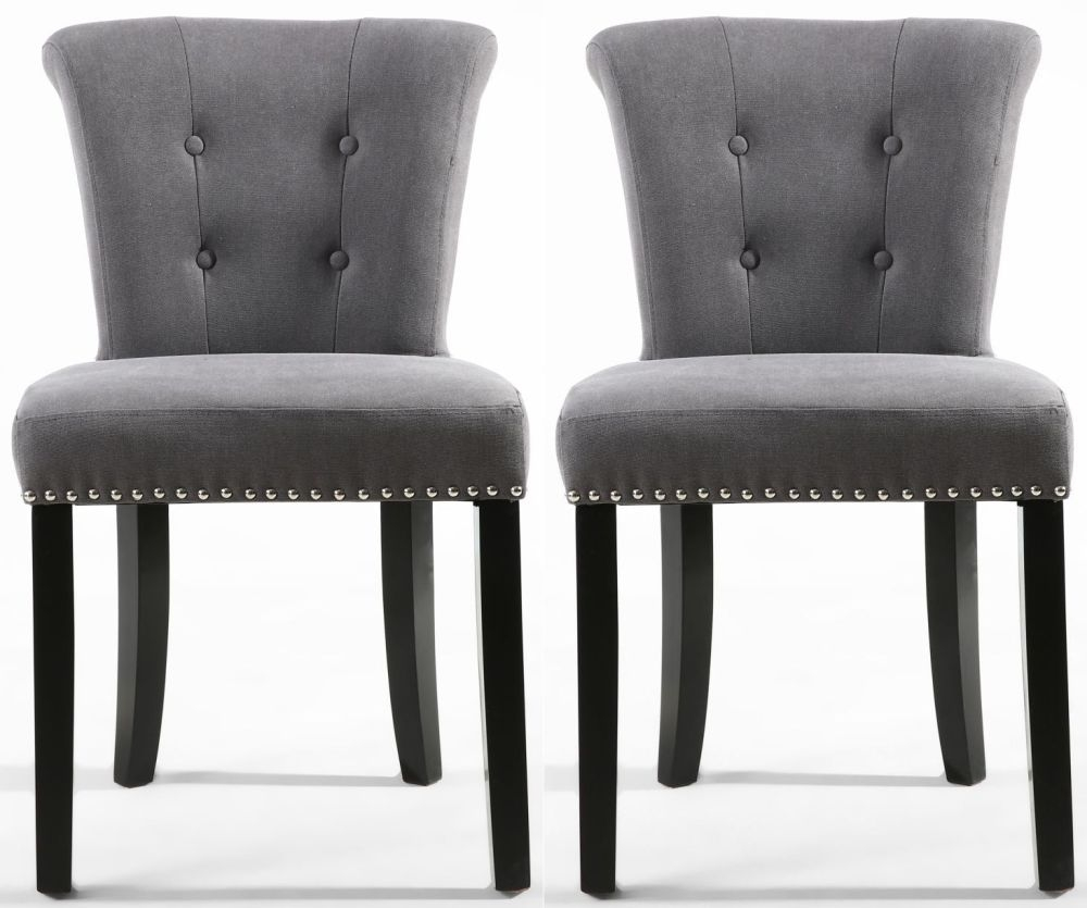Studded Dining Chairs Shankar Sandringham Grey Stonewash Fabric Studded Knockerback Accent Dining Chair Pair
