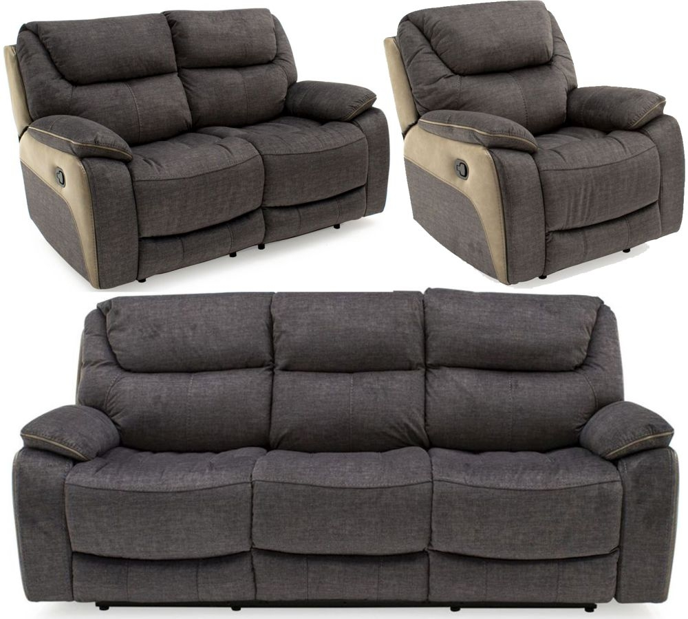 Vida Living Santiago Grey Fabric 3 2 1 Seater Recliner Sofa Cfs Furniture Uk
