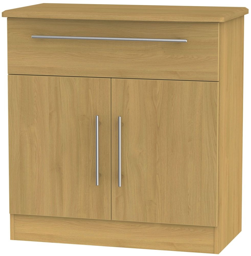 Sideboard Modern Sherwood Modern Oak 2 Door 1 Drawer Narrow Sideboard - Cfs Furniture Uk