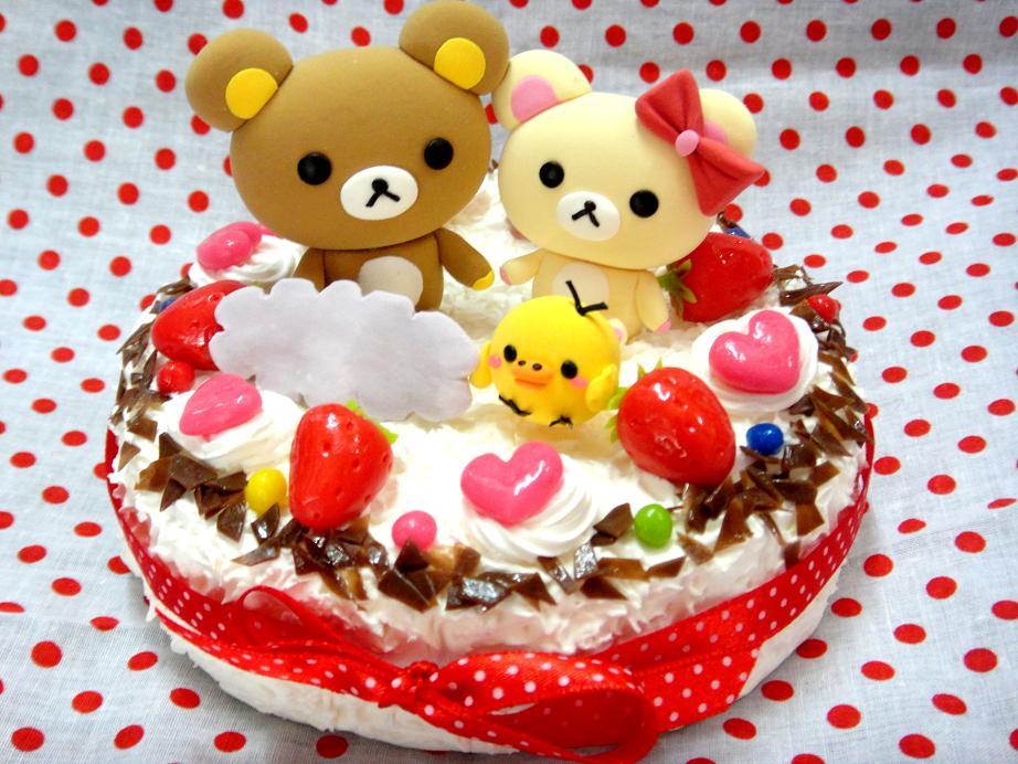 款式1: 鬆弛熊一家草莓巧克力碎蛋糕 | 小菜籽黏土