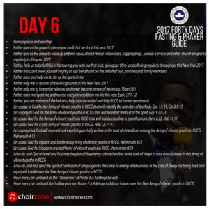 RCCG 2017 FORTY DAYS FASTING PRAYER POINTS [DAY 6]