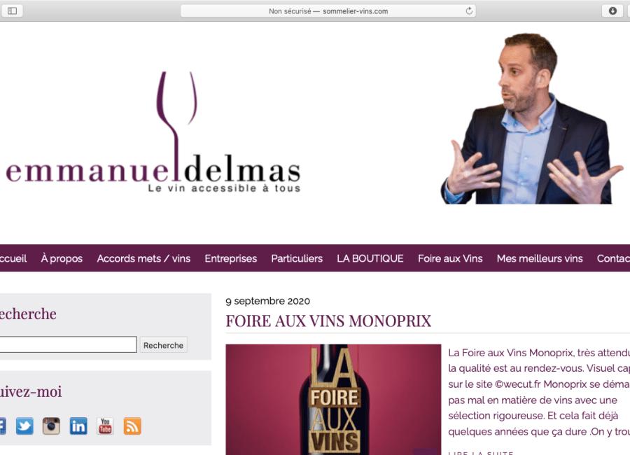 page accueil blog sommeleir emmanuel delmas