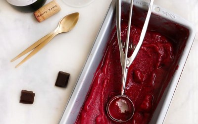 sorbete de vino tinto|chokolat pimienta