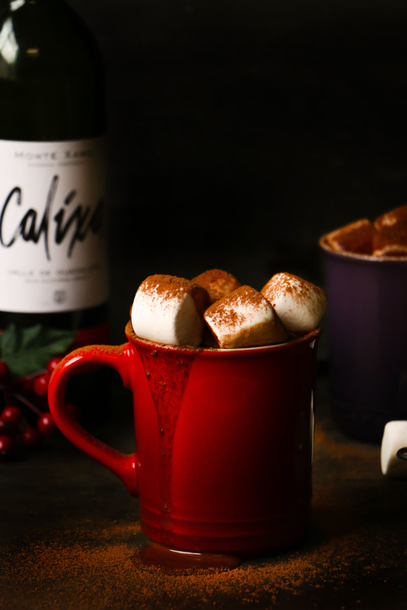 Chocolate caliente con vino tinto