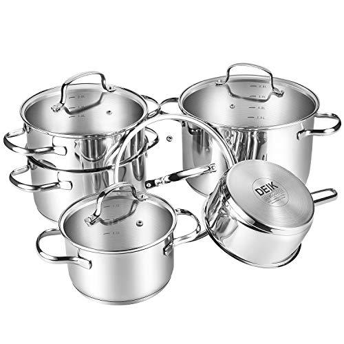 Deik Batería de cocina, Acero inoxidable, 9 piezas, 6L / 3L / 2L /