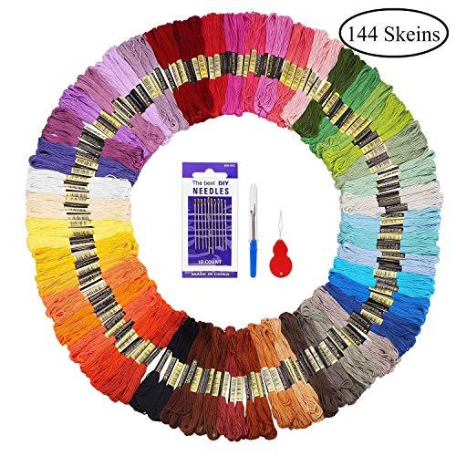 Madejas de Hilos 144 Madejas 48 Colores Fuyit Hilos de Bordar de Alg