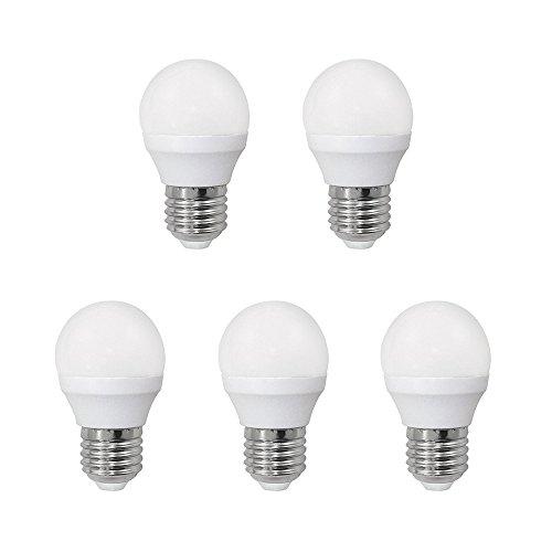 Pack 5 x Bombilla LED esférica 6W (equivalente a 40W) Luz neutra, no dimmable, E27, 470 Lm, 25000 horas de vida    Precio: 13.99€        visita t.me/chollismo