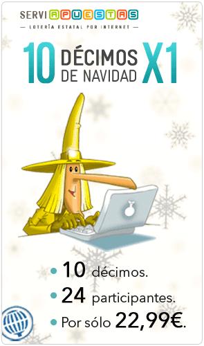 Lotería de Navidad 10 décimos por el precio de 1
