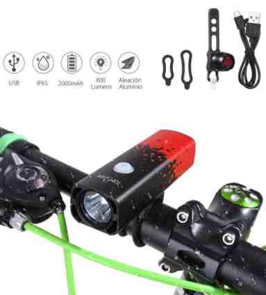 a52225e9ede Chollo luz delantera y trasera LED para bicicleta de Tomshine por 13