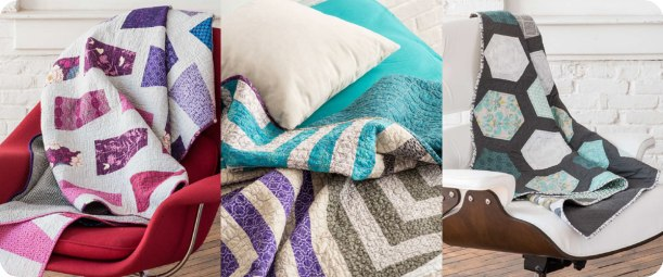 From left to right: Ombre Trapezoid Quilt, Ripple Quilt, Cheater Hexie Quilt