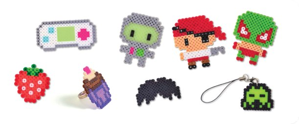 Video game controller, Robot, Pirate, Luchador, Strawberry, Cupcake ring, Mustache, 8-bit Baddie Cell Phone Charm Photos © Design Originals