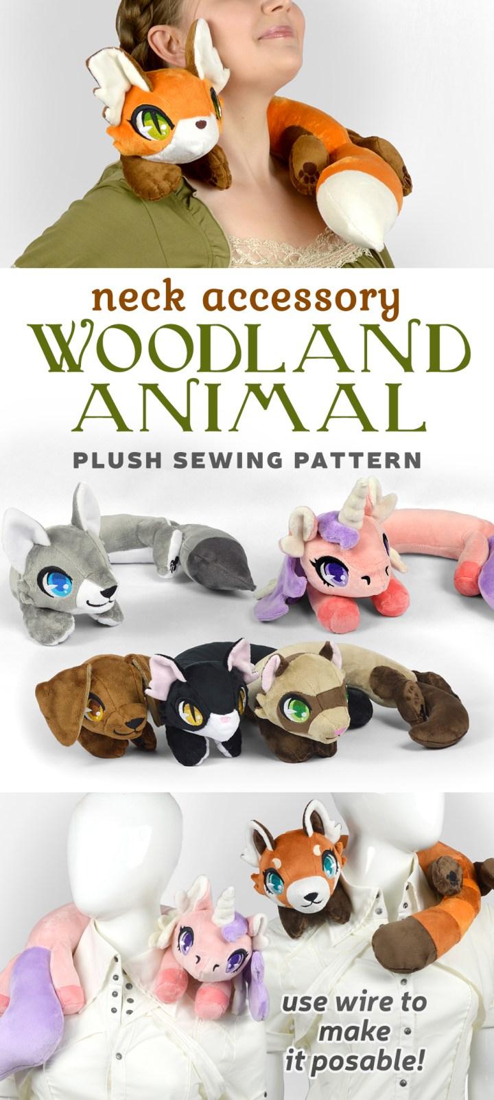 Woodland Animal Neck Plush Sewing Pattern