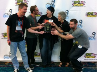 Team Chomp goofing off on the red carpet after we won Best of Fest at GeekFest!