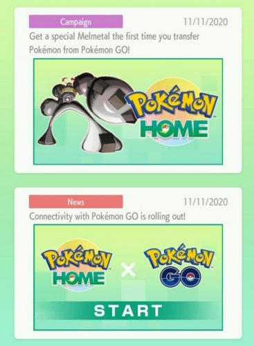 Messages in Pokemon Home about transfers from Go