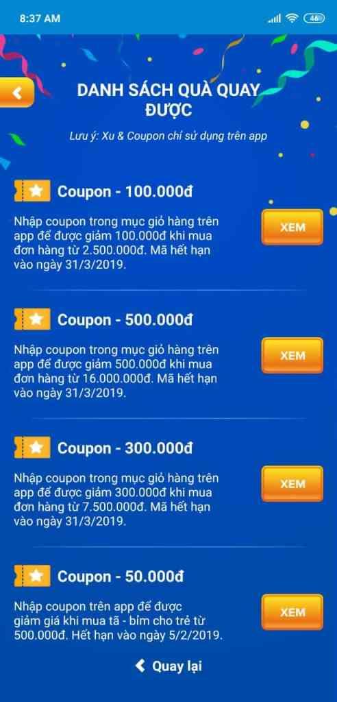 Mã Coupon áp dụng cho app