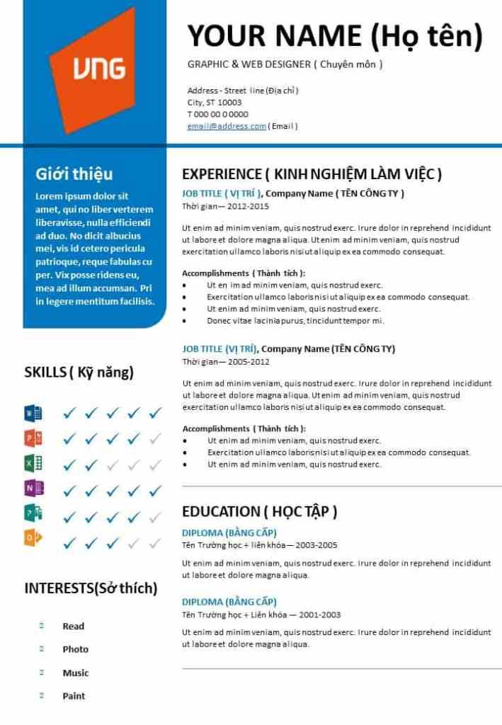 CV xin việc bằng tiếng anh
