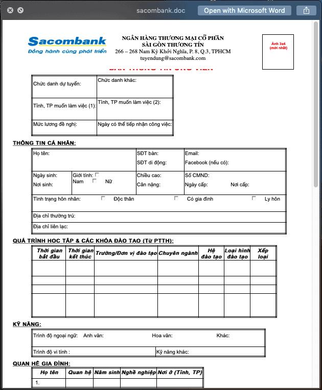CV ứng tuyển ngân hàng Sacombank