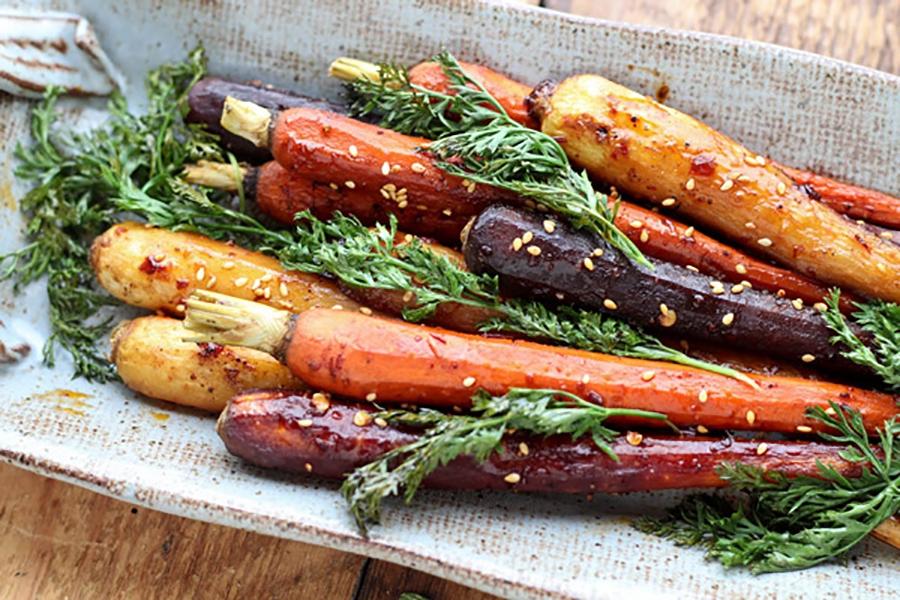 Asian-Spiced Roasted Rainbow Carrots by Asian Caucasian