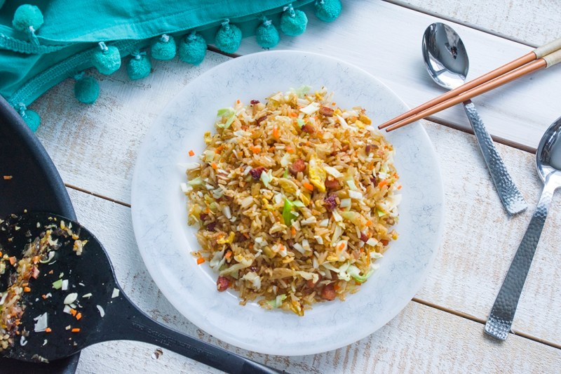Fried rice with ham or bacon choochoo ca chew i like my fried rice loaded with veggies to make it a healthier meal so it may seem like a lot of veggies are added to the dish ccuart Choice Image