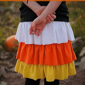 Halloween Refashion: The Candy Corn Ruffle Skirt