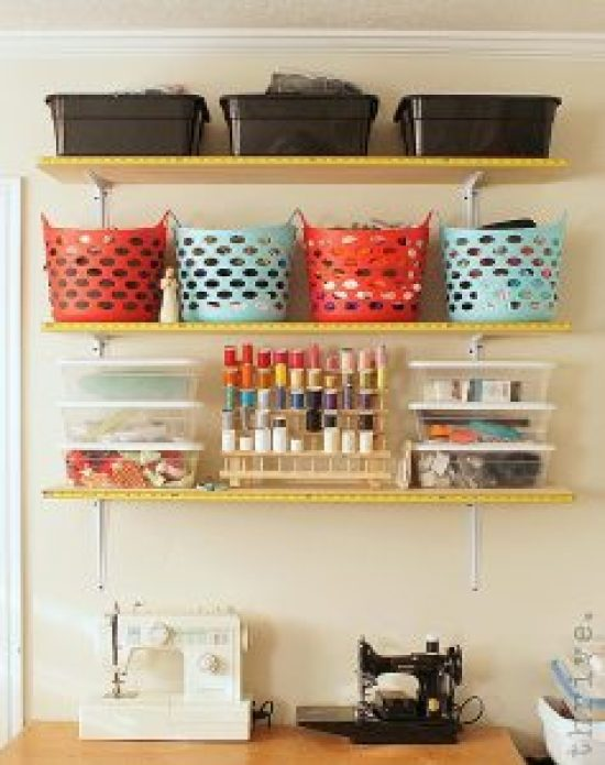 Use busted tape measures to decorate shelves - choose-to-thrive.com