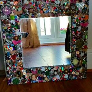 Bling Up a Plain Mirror With Old Jewelry