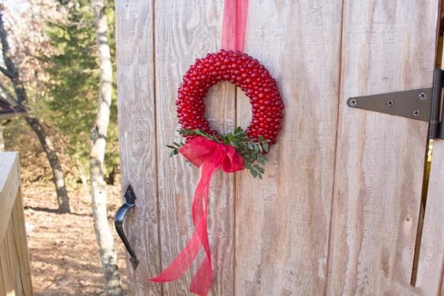 Cranberry Wreath on the door