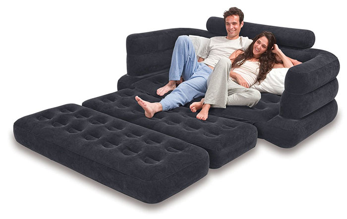 intex pull out sofa review modern design leather sofas how to make an air mattress more comfortable ...