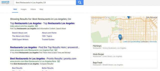 Search Encrypt Map Results