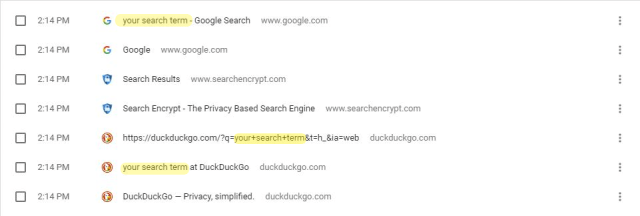 Search history in DuckDuckGo