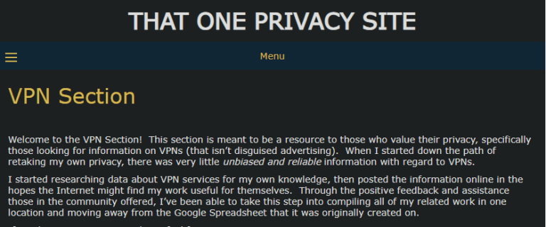 That One Privacy Site