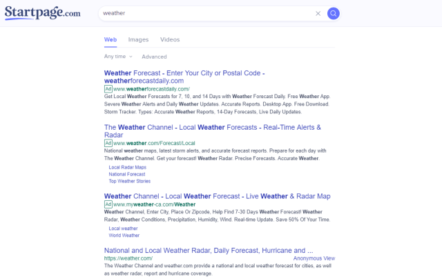 startpage weather search results
