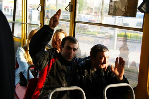 Welcome to Lviv! High five! (Or scene from a tram)