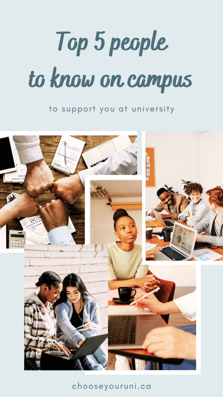 """light blue background with dark teal text that reads, """"Top 5 people to know on campus to support you at university."""" Below the writing, there is a photo collage of images of students working together."""