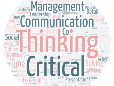 Round wordcloud in pink and teal on a light grey background. Words are transferable skills: Critical thinking, communication, management, problem solving, analysis, presentations, leadership, listening, public speaking, adaptability...