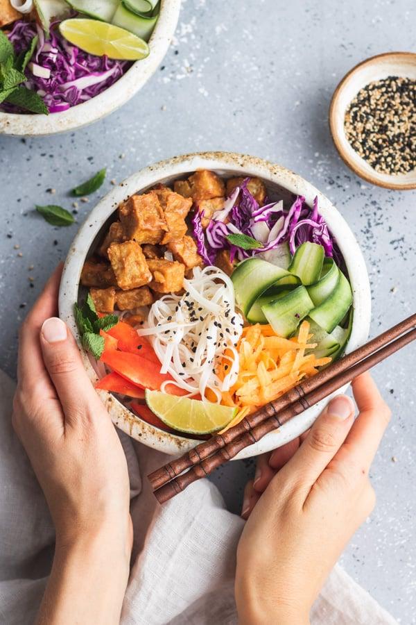 Tofu & Veggie Spring Roll Bowls