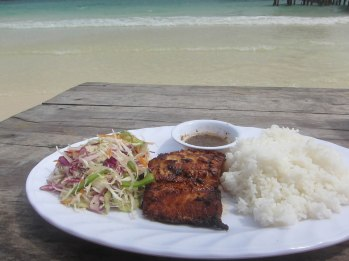 Fish and squid on the beach of Koh Rong, Cambodia. It at least had an Asiany sauce.