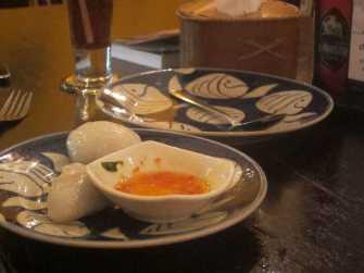 Dumplings and cashew shrimp in Siem Reap, Cambodia.