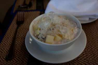 Fruit in coconut milk.