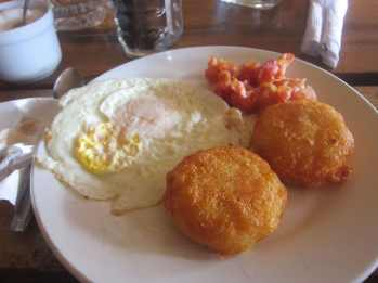 Bacon, eggs, and hashbrowns in Sihanoukville, Cambodia.