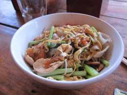 Chicken and noodles in Sihanoukville, Cambodia. One last bowl of noodles before leaving Cambodia.