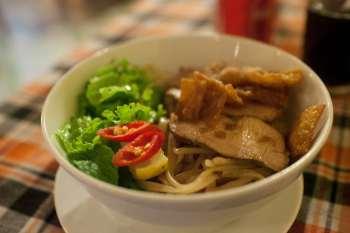 Hoi An specialties: Cao Lau in Hoi An, Vietnam.