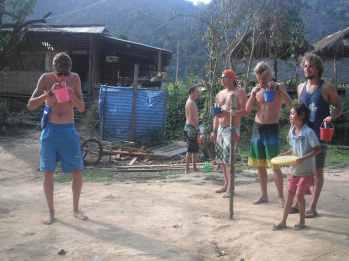 Playing beersbee in Vang Vieng, Laos.